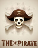 Pirate theme with pirate skull Stock Photos