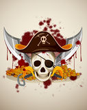 Pirate theme with skull and sword Royalty Free Stock Photos