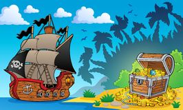 Pirate theme with treasure chest 1 Stock Image
