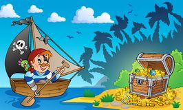 Pirate theme with treasure chest 3 Royalty Free Stock Photo