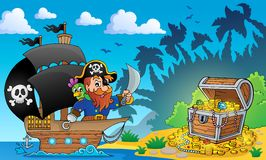 Pirate theme with treasure chest 2 Stock Image