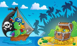 Pirate theme with treasure chest 4 Stock Photos