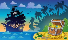 Pirate theme with treasure chest 5 Stock Image