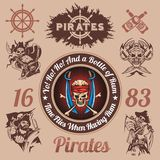 Pirate themed design elements - vector set Stock Images