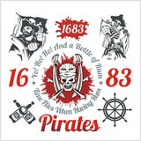 Pirate themed design elements - vector set Royalty Free Stock Photos