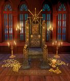 Pirate throne and golden coins stock illustration