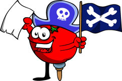 Pirate tomato with blank paper and pirate flag Royalty Free Stock Images