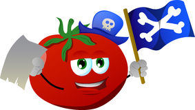 Pirate tomato with blank paper and pirate flag Stock Images