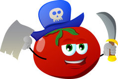 Pirate tomato with blank paper and sword Stock Photo
