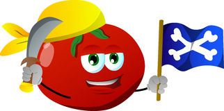 Pirate tomato with sword and pirate flag Royalty Free Stock Photo