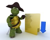 Pirate Tortoise depicting illegal downloads Royalty Free Stock Images