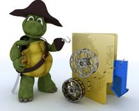 Pirate Tortoise depicting illegal movie downloads Royalty Free Stock Photography