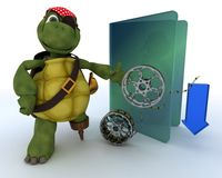 Pirate Tortoise depicting illegal movie downloads Stock Photo