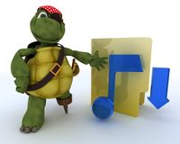 Pirate Tortoise depicting illegal music downloads Stock Photography