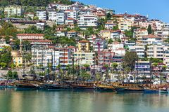 Pirate tourist boats in the port of Alanya. stock photography