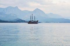 Pirate tourist ship sailing at sea. Pirate tourist ship sailing at Mediterranean sea. Kemer, Turkey stock photos