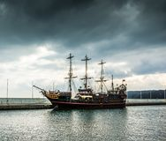 Pirate tourist ship in Sopot Stock Images