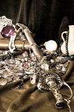 Pirate treasure. Sepia tone picture of a pirate treasure royalty free stock image