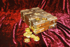 Pirate Treasure. Chest with gold coins Royalty Free Stock Image