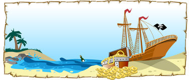PIRATE - TREASURE. An illustration of pirate ship with treasure. vector available in AI version 10 Stock Photo