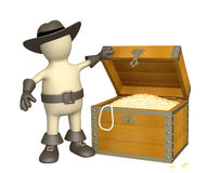 Pirate with treasure. 3d puppet - pirate with treasure Stock Photography