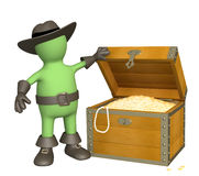 Pirate with treasure. 3d puppet - pirate with treasure Royalty Free Stock Photos
