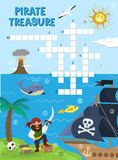 Pirate treasure adventure crossword puzzle maze education game for children about pirates find map sea labyrinth vector Royalty Free Stock Photos