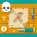 Pirate Treasure Adventure Game RPG Map Action Stock Image