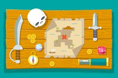 Pirate Treasure Adventure Game RPG Map Action Knife Gagger Spyglass Skull Compass Icon Symbol Wood Table Background. Pirate Treasure Adventure Game RPG Map Royalty Free Stock Image