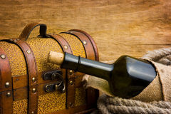Pirate treasure chest. Against the old wooden boards Royalty Free Stock Photos