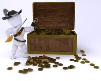 Pirate with a treasure chest Stock Photography