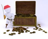Pirate with treasure chest Stock Photos