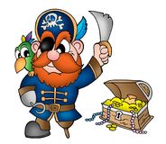 Pirate with treasure chest. Color illustration Stock Photography