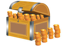 Pirate treasure chest. A cartoon pirate treasure chest with gold coins Stock Photography