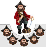 Pirate. With treasure chest and different emotions Stock Photo