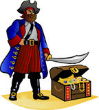 Pirate and Treasure Chest/eps. Illustration of a traditional caribbean pirate and his treasure chest Stock Photography