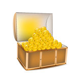 Pirate a treasure chest of gold coins on a white background  Stock Image