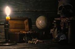 Pirate table. Treasure hunt. Sea robbery, travel concept. stock photos