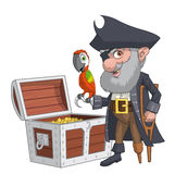 Pirate treasure chest. Illustration of an old pirate with his treasure chest Royalty Free Stock Photo