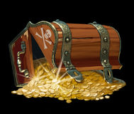 Pirate treasure chest. Isolated on black background Stock Photography