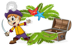 Pirate with a treasure chest Stock Images