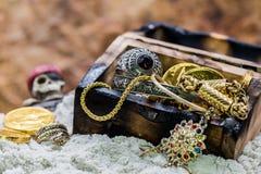 Pirate treasure. Pirate and treasure, Columbus Day stock images