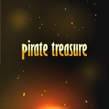 Pirate Treasure. Dark Background with caption Pirate Treasure, Card Vector Illustration Stock Photos