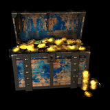 Pirate Treasure drawing, 3d illustration. Pirate Treasure Chest, drawing, 3d illustration royalty free illustration