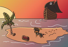 Pirate treasure. Image of a pirate collecting his treasure on a lost island Royalty Free Stock Photo