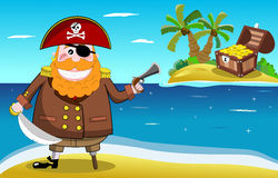 Pirate and Treasure Island Stock Photography