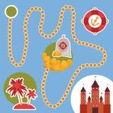 Pirate treasure, island, castle. game for Preschool Children. Vector Royalty Free Stock Image