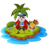Pirate in the treasure island Stock Photos