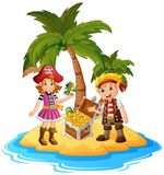 Pirate in the treasure island Royalty Free Stock Photos