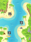 Pirate treasure island. Illustration of a cartoon pirate island and treasure marks a Jolly Rodger flag Royalty Free Stock Image